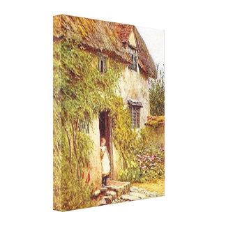 Impressão esticado casa de campo das canvas do paí impressão de canvas esticadas