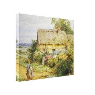 Impressão esticado casa de campo das canvas do paí impressão em tela canvas