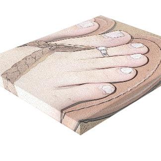 Impressão esticado das canvas de Maddy dedos do pé