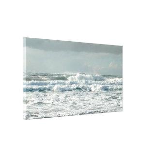 Impressão esticado espumoso das canvas das ondas