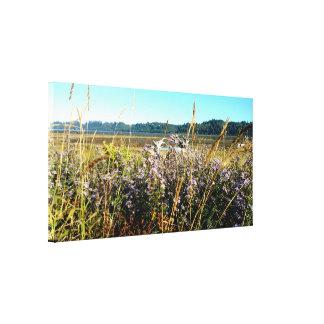 Impressão esticado litoral das canvas das flores
