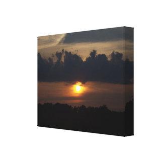 Impressão esticado pequeno das canvas do por do so impressão de canvas envolvidas