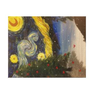 Impressão estrelado das canvas da noite de Natal Impressão Em Tela