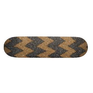 Impressão feminino da foto do brilho do ziguezague shape de skate 20cm