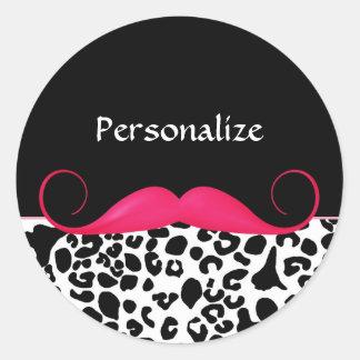 Impressão feminino do leopardo do bigode adesivos redondos
