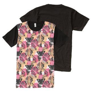 Impressão floral da borboleta camisetas com impressão frontal completa