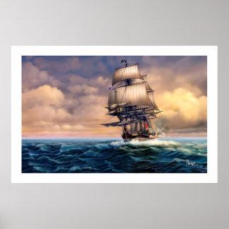 Impressão histórico da arte da pintura do navio do
