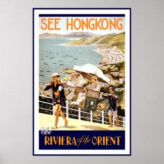 Impressão Hong Kong Riviera Oriente do poster vint
