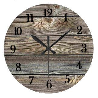 Impressão horizontal de madeira de vista autêntico relógio grande