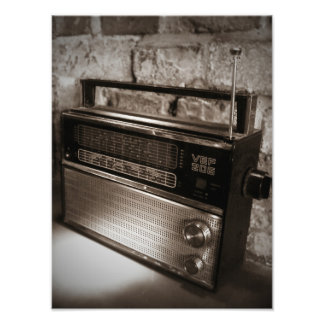 Impressão impressionante do rádio do vintage impressão de foto