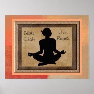 Impressão inspirado ioga da arte - apenas respire