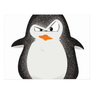 Impressão irritado da foto do brilho do pinguim cartão postal