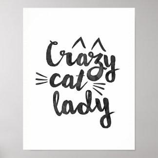 Impressão louco do poster da senhora do gato