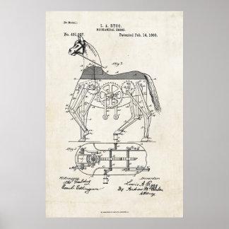 Impressão mecânico da patente do cavalo 1893