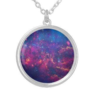 Impressão na moda da galáxia/jóia da nebulosa colar com pendente redondo