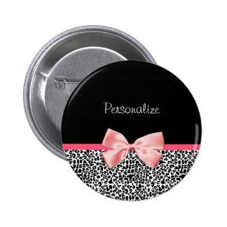 Impressão na moda do leopardo e fita cor-de-rosa c bóton redondo 5.08cm
