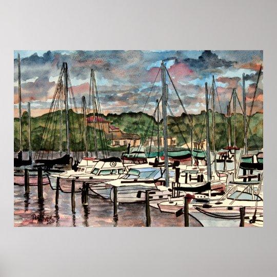 impressão náutico da arte do marinheiro do porto d