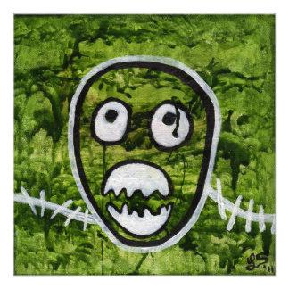 Impressão original da foto da arte do monstro coça