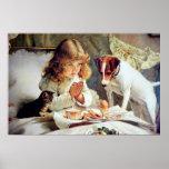 Impressão: Pequeno almoço na cama: Menina, Fox Ter