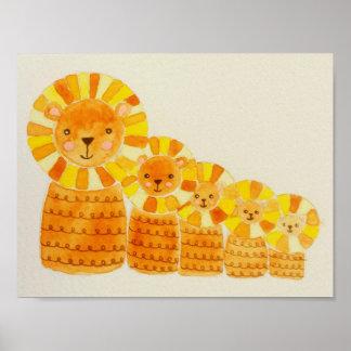 Impressão pequeno do poster de cinco leões