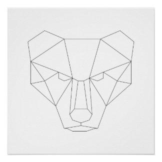 Impressão preto & branco da cabeça geométrica do poster perfeito
