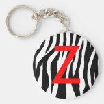 Impressão preto & branco da zebra chaveiros