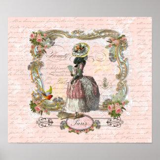 Impressão preto de Marie Antoinette da caniche