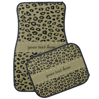 Impressão preto do leopardo do ouro tapete de carro