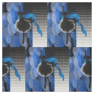 Impressão preto e branco azul do dançarino de balé tecido