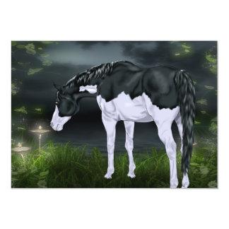 Impressão preto e branco do cavalo da pintura do convite 12.7 x 17.78cm