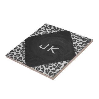 Impressão preto e branco do leopardo do monograma azulejo quadrado pequeno