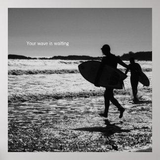 Impressão preto e branco do surf