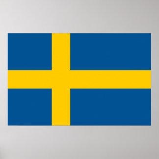 Impressão quadro com a bandeira da suecia