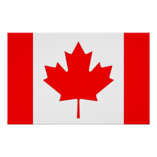 Impressão quadro com a bandeira de Canadá