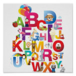 impressão quadro dos desenhos animados alfabeto lo