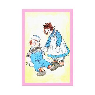 Impressão Raggedy do vintage de Ann e de Andy Impressão Em Tela