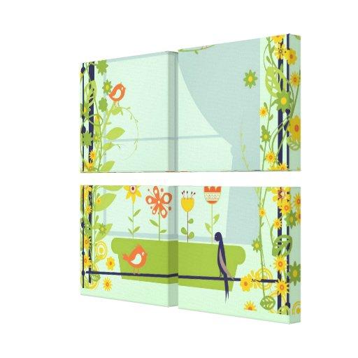 Impressão retro 2 das canvas dos pássaros e das fl impressão de canvas esticada