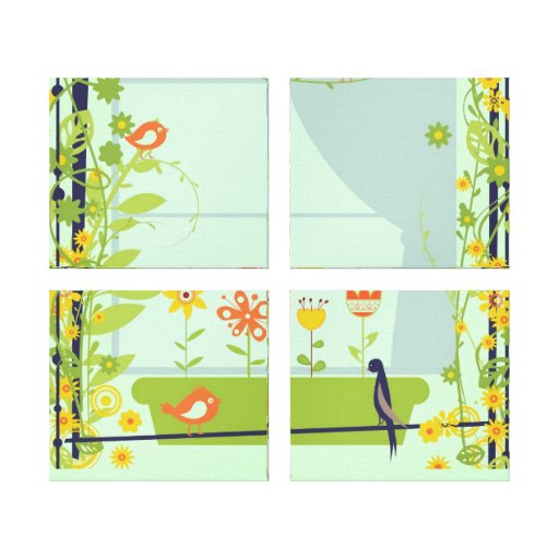 Impressão retro 2 das canvas dos pássaros e das fl impressão em tela