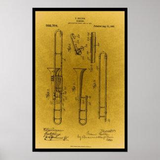 Impressão retro da patente do trombone do design