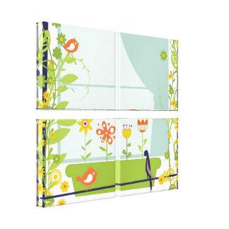 Impressão retro das canvas dos pássaros e das flor impressão em canvas