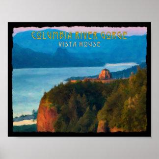 Impressão retro do desfiladeiro do Rio Columbia e