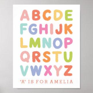 Impressão rotulado mão personalizado do alfabeto