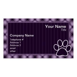 Impressão roxo da pata cartões de visita