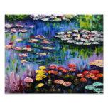 Impressão roxo dos lírios de água de Monet Impressão De Fotos