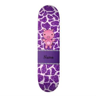 Impressão roxo personalizado do girafa do brilho d shape de skate 20cm