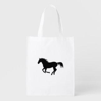 Impressão Running do cavalo do preto da silhueta Sacola Ecológica Para Supermercado