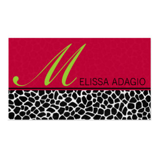 Impressão Sassy do vermelho e do girafa Modelos Cartão De Visita