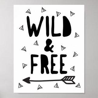 Impressão selvagem e livre do poster