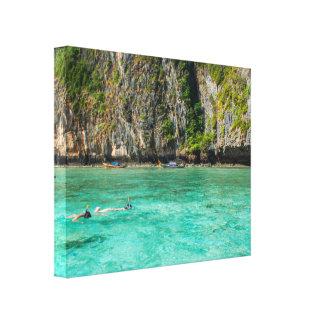 Impressão Snorkeling das canvas do paraíso da ilha