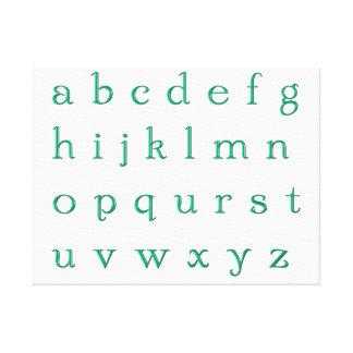Impressão sobre tela alfabeto verde